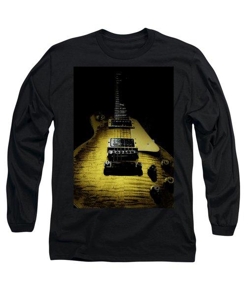 Long Sleeve T-Shirt featuring the digital art Honest Play Wear Tour Worn Relic Guitar by Guitar Wacky
