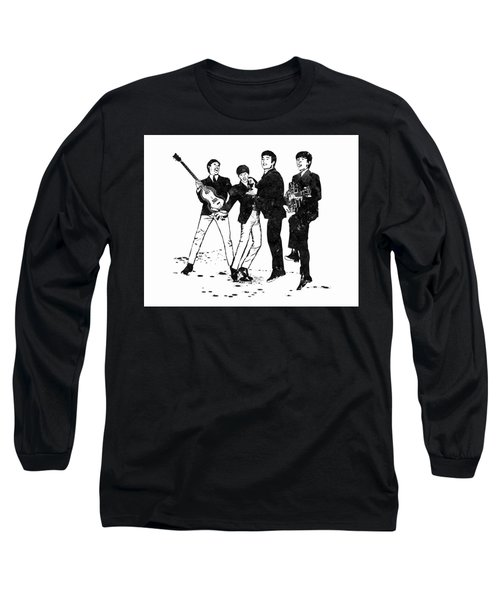 The Beatles Black And White Watercolor 02 Long Sleeve T-Shirt