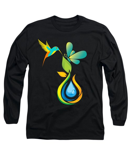 The Kissing Flower And The Butterfly On Flower Bud Long Sleeve T-Shirt