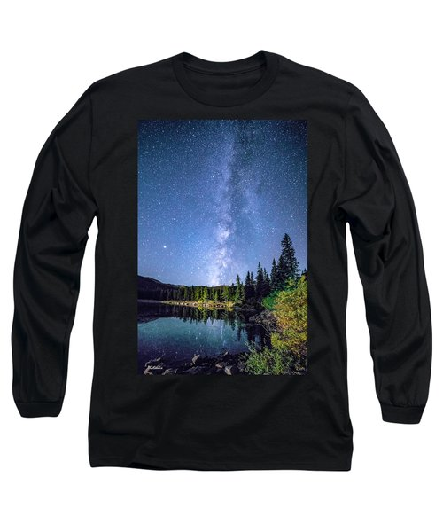 The Milky Way Over Echo Lake Long Sleeve T-Shirt