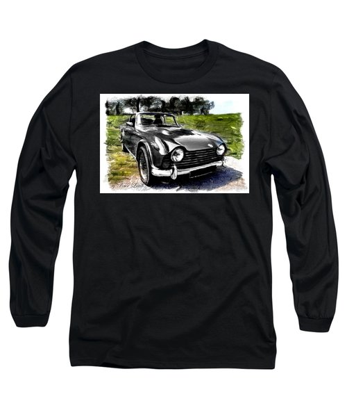 Triumph Tr5 Monochrome With Brushstrokes Long Sleeve T-Shirt
