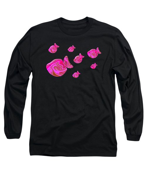 Tropical Fish In Pink Psychedelic Pattern Long Sleeve T-Shirt