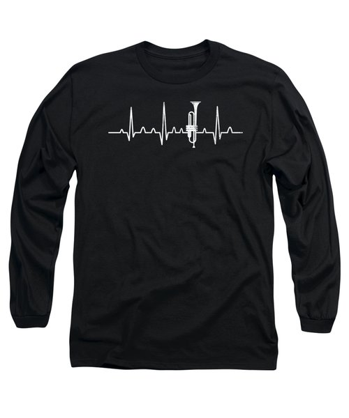 Trumpet Heartbeat Trumpeter Musician Gift Idea Long Sleeve T-Shirt