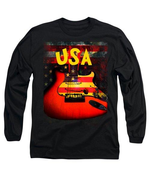 Long Sleeve T-Shirt featuring the digital art Usa Flag Guitar Purple Stars And Bars by Guitar Wacky
