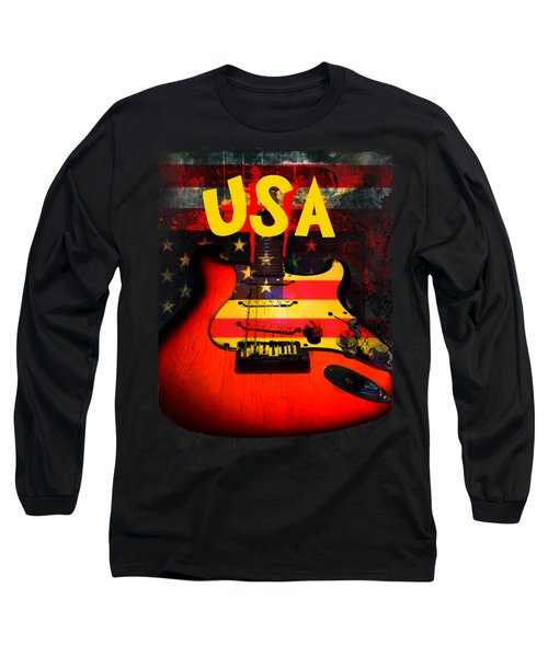 Usa Flag Guitar Purple Stars And Bars Long Sleeve T-Shirt