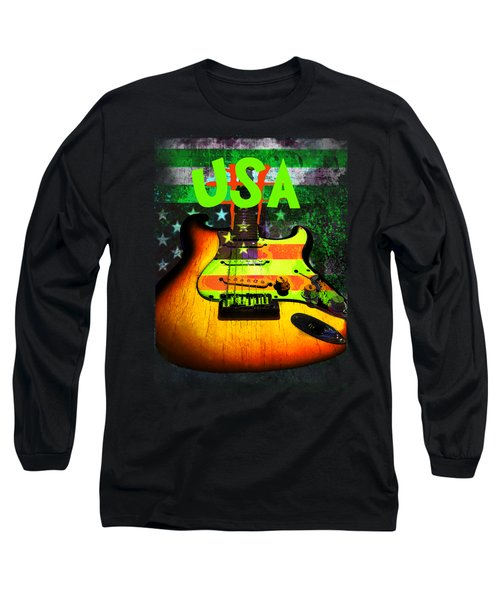 Usa Strat Guitar Music Green Theme Long Sleeve T-Shirt