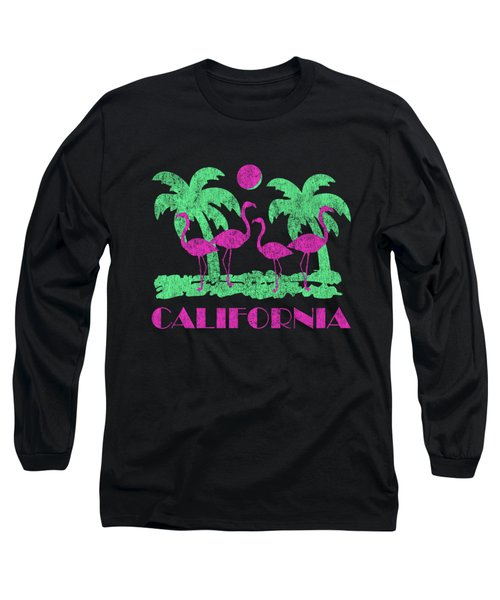 Vintage California Pink Flamingos Long Sleeve T-Shirt