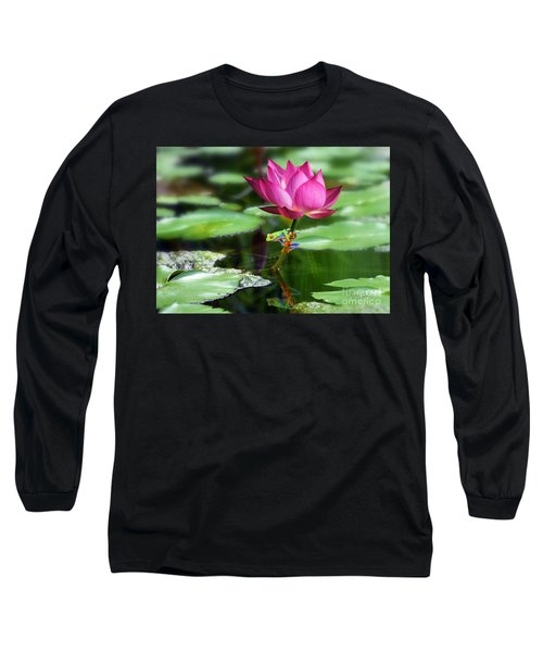 Water Lily And Little Frog Long Sleeve T-Shirt