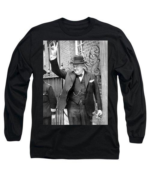 Winston Churchill Showing The V Sign Long Sleeve T-Shirt