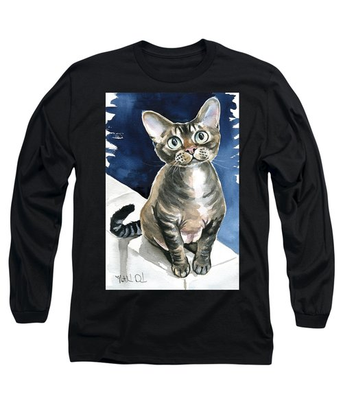 Winter Devon Rex Cat Painting Long Sleeve T-Shirt