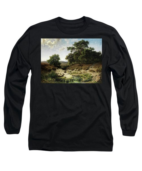 Wooded Landscape With Watercourse And Staffage Figures Long Sleeve T-Shirt
