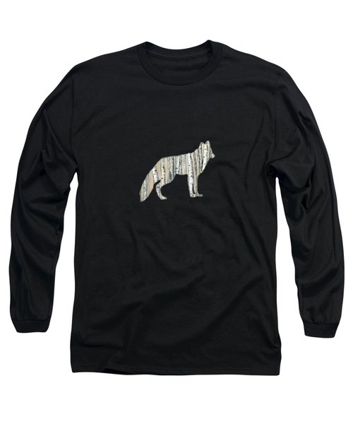 Woods Forest Lodge Wolf With Aspen Trees Long Sleeve T-Shirt