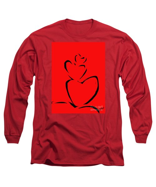 Long Sleeve T-Shirt featuring the painting  A Stack Of Hearts by Go Van Kampen