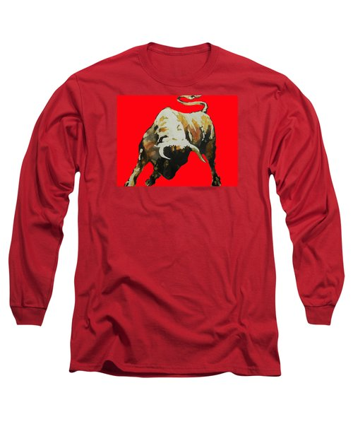 Fight Bull In Red Long Sleeve T-Shirt by J- J- Espinoza