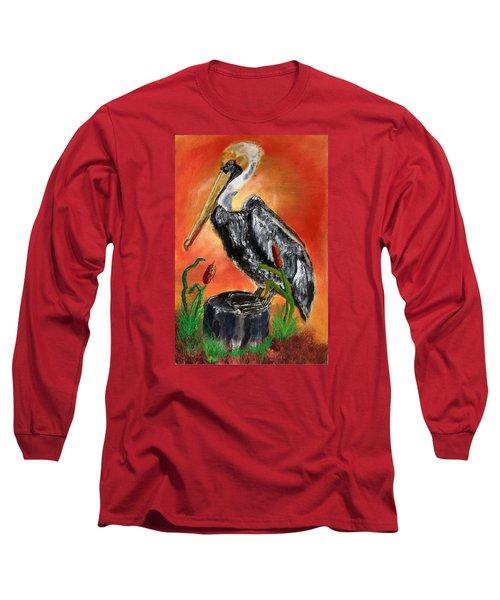082914 Pelican Louisiana Pride Long Sleeve T-Shirt by Garland Oldham