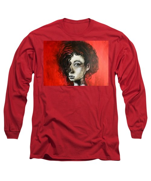 Black Portrait 23 Long Sleeve T-Shirt by Sandro Ramani