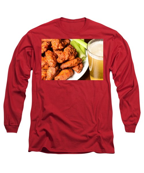 Buffalo Wings With Celery Sticks And Beer Long Sleeve T-Shirt