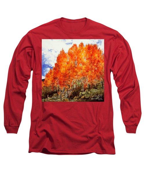 Flaming Aspens 2 Long Sleeve T-Shirt by Barbara Jewell