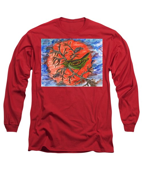 Long Sleeve T-Shirt featuring the painting Green Warbler by Teresa White