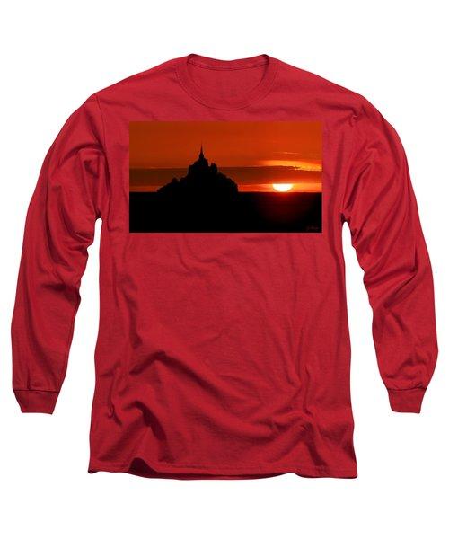 Mont St Michel Sunset Long Sleeve T-Shirt by Joe Bonita