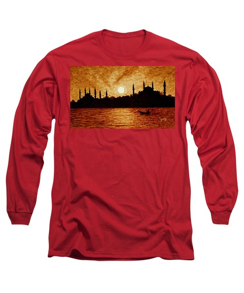 Long Sleeve T-Shirt featuring the painting Sunset Over Istanbul Original Coffee Painting by Georgeta  Blanaru
