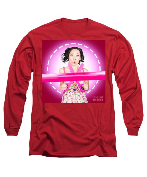 Surprised Hairdressing Woman With Beautiful Hair Long Sleeve T-Shirt