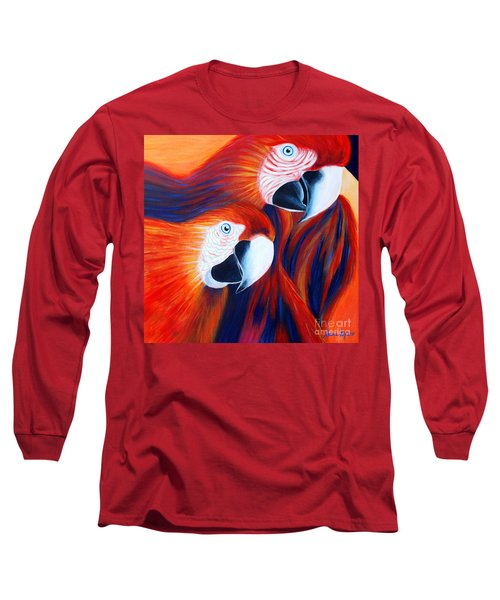 Long Sleeve T-Shirt featuring the painting Two Parrots. Inspirations Collection. by Oksana Semenchenko