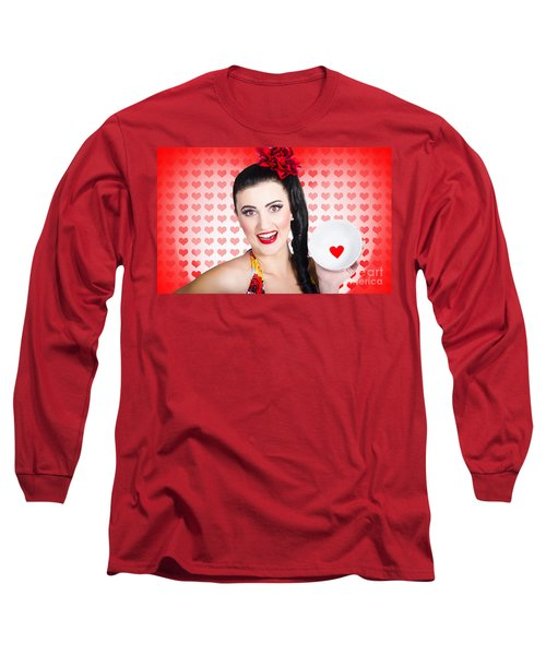 Woman In Love On A Valentine Dinner Date Long Sleeve T-Shirt