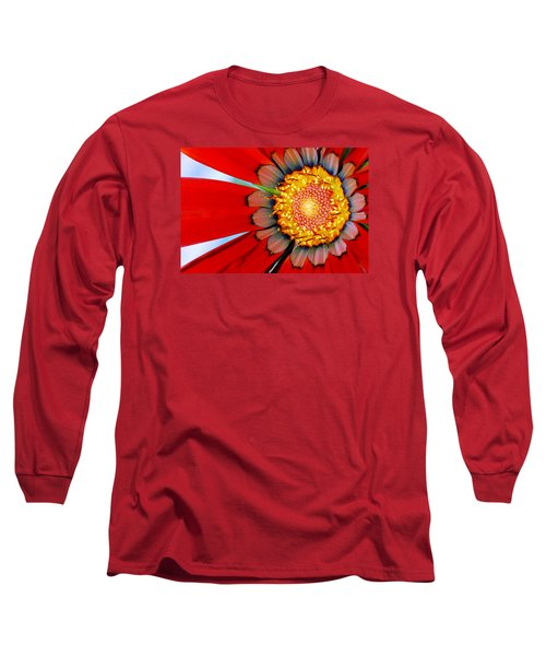 Long Sleeve T-Shirt featuring the photograph Zinnia In Red by Wendy Wilton