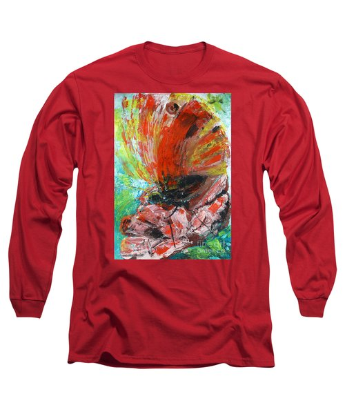 Butterfly And Flower Long Sleeve T-Shirt by Jasna Dragun