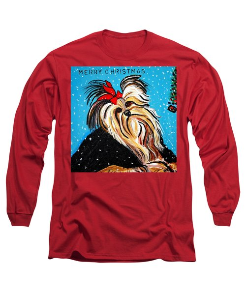 Long Sleeve T-Shirt featuring the painting Christmas Card by Nora Shepley