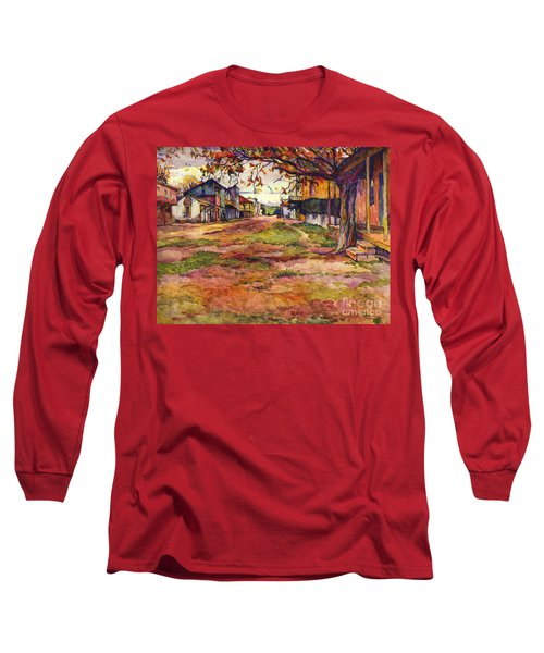 Main Street Of Early Spanish California Days San Juan Bautista Rowena M Abdy Early California Artist Long Sleeve T-Shirt