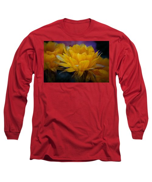 Orange Cactus Flowers  Long Sleeve T-Shirt
