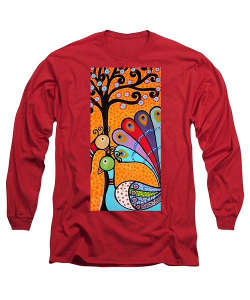 Long Sleeve T-Shirt featuring the painting 2 Peacocks And Tree by Pristine Cartera Turkus