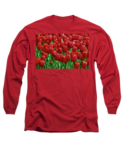 Long Sleeve T-Shirt featuring the photograph Red Tulips  by Allen Beatty