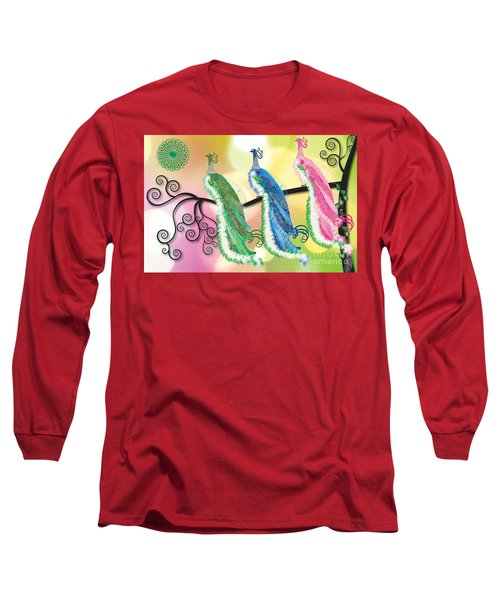 Visionary Peacocks Long Sleeve T-Shirt by Kim Prowse