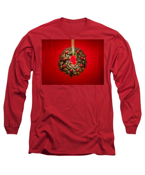 Advent Wreath Over Red Background Long Sleeve T-Shirt