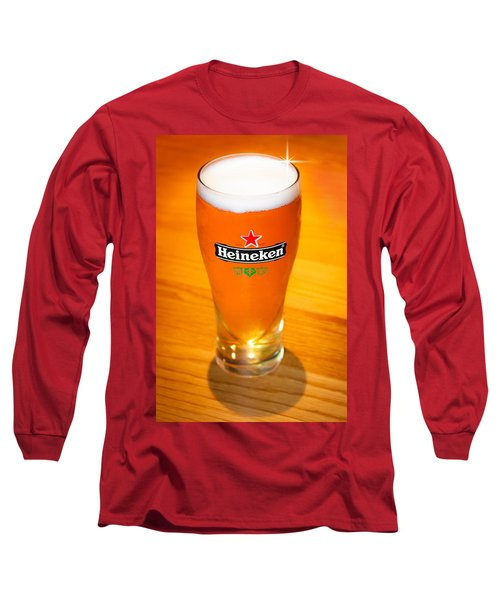 A Cold Refreshing Pint Of Heineken Lager Long Sleeve T-Shirt by Semmick Photo