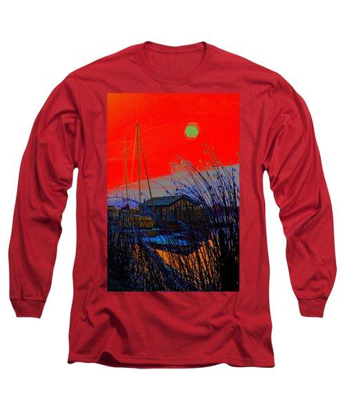 A Digital Marina Sunset Long Sleeve T-Shirt
