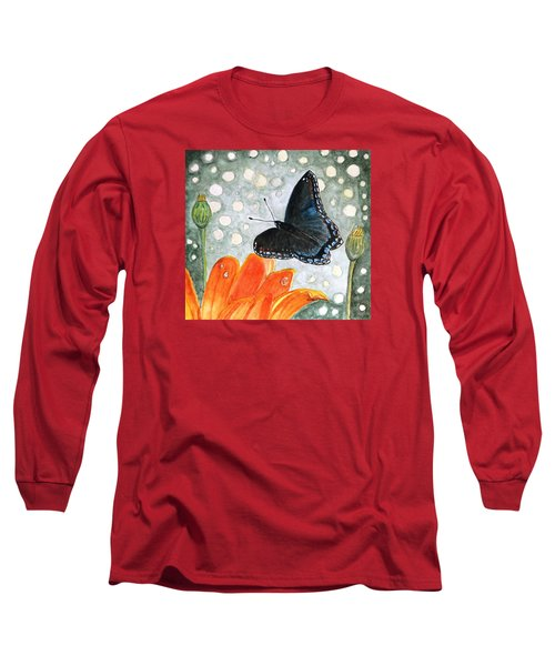 Long Sleeve T-Shirt featuring the painting A Garden Visitor by Angela Davies