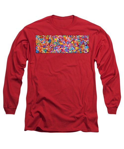 Abstract Colorful Flowers Triptych  Long Sleeve T-Shirt