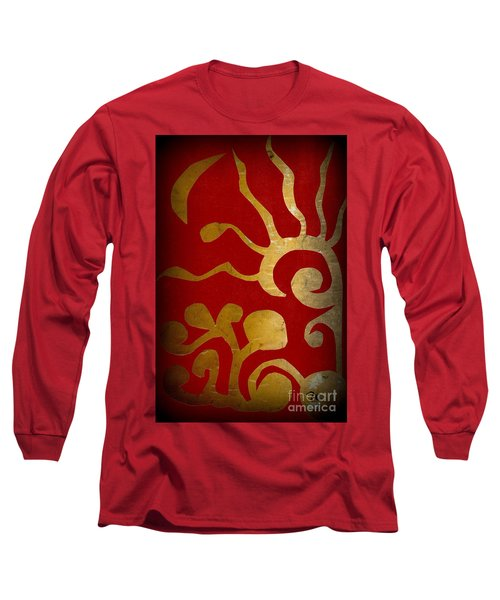 Long Sleeve T-Shirt featuring the painting Abstract Gold Collage by Patricia Cleasby