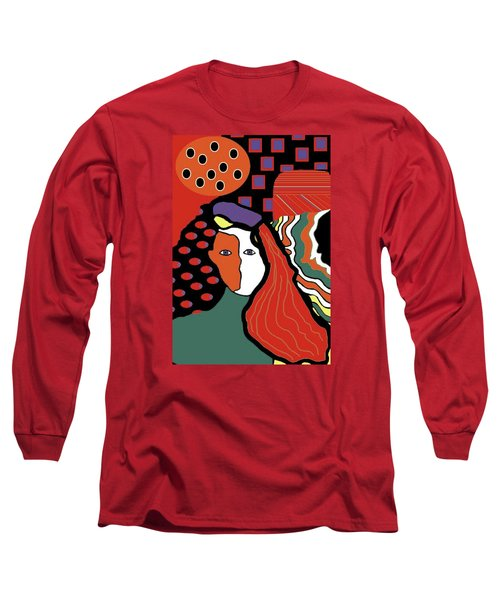 Abstract Lady Long Sleeve T-Shirt by Vickie G Buccini