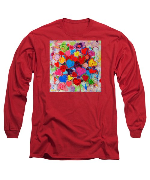 Abstract Love Bouquet Of Colorful Hearts And Flowers Long Sleeve T-Shirt by Ana Maria Edulescu