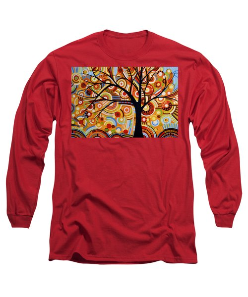 Long Sleeve T-Shirt featuring the painting Abstract Modern Tree Landscape Thoughts Of Autumn By Amy Giacomelli by Amy Giacomelli