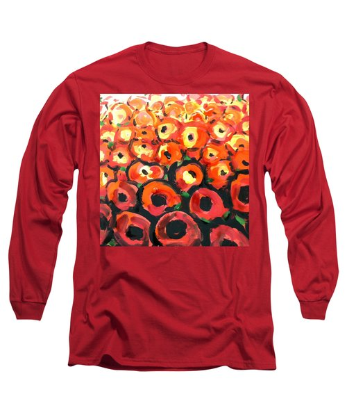 Abstract Poppies Long Sleeve T-Shirt by Hae Kim