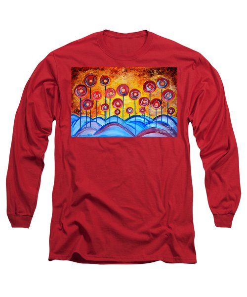 Abstract Red Symphony Long Sleeve T-Shirt by Ramona Matei