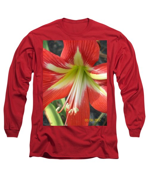 Long Sleeve T-Shirt featuring the photograph Amarylis Full Bloom by Belinda Lee