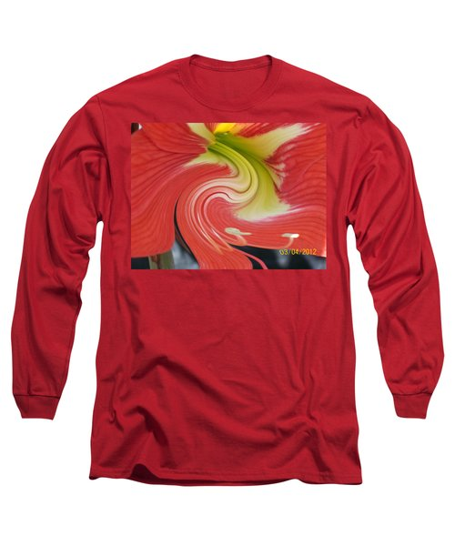 Long Sleeve T-Shirt featuring the photograph Amarylis Twirl by Belinda Lee