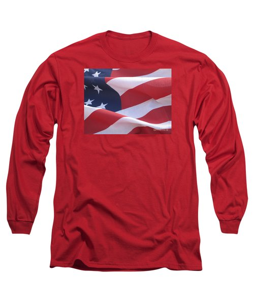 Long Sleeve T-Shirt featuring the photograph American Flag   by Chrisann Ellis